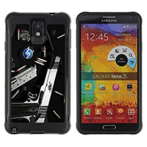 Hybrid Anti-Shock Defend Case for Samsung Galaxy Note 3 / Pistol & Ammo