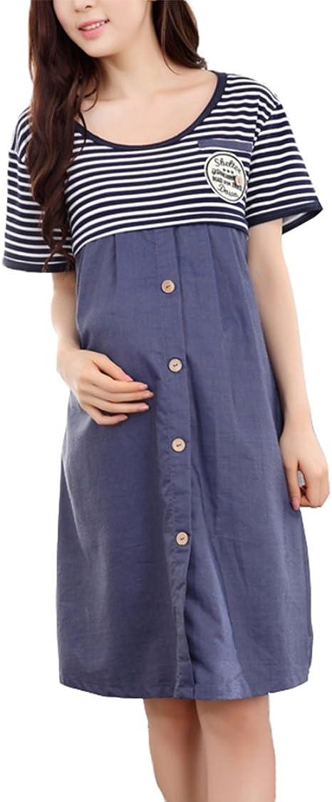 Vestido de Maternidad Camisas Moda Manga Larga Denim Raya Falda de ...