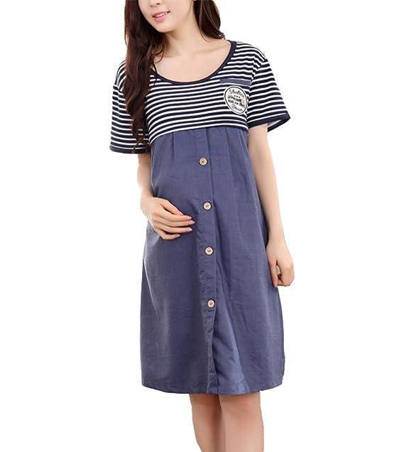 Vestido de maternidad Camisas Moda manga larga Denim raya falda de maternidad para mujeres