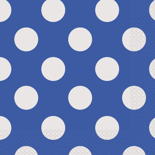 [Royal Blue Polka Dot Paper Napkins, 16ct] (Quick Halloween Costume Ideas For Boys)