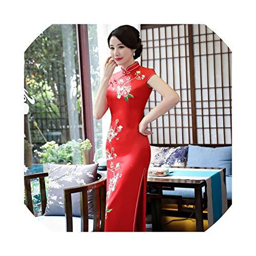 (HappyWe New Cheongsam 2019 Long Positioning Cheongsam Banquet Dress Show Catwalk Suzhou Cheongsam,1986 Red,M)