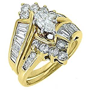 Amazon.com: 14k Yellow Gold Marquise Baguette Diamond