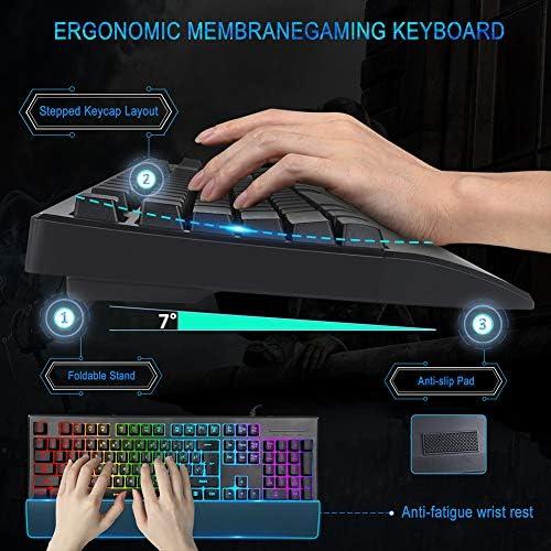 Juego de Teclado y ratón para Videojuegos, MFTEK RGB Rainbow Backlit Gaming Keyboard y Juego de Mouse Iluminado, Teclado programable con reposamuñecas ...