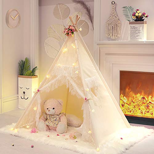 Tree Bud Lace Teepee Tent for Girls Tipi Tent Ivory Canvas Classic Play Tent / House Indoors for Kids Toddles Room Décor -