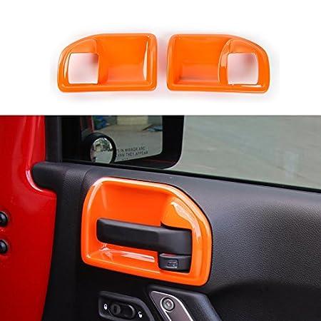 4-Door, Green ABS Inner Door Handle Bowl Cover Decoration Frame Trim for Jeep Wrangler 2011-2017