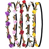 eBoot Flower Headband Crown with Elastic Ribbon for Women Girls, 5 Pieces