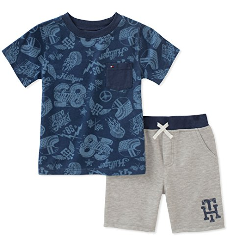 Tommy Hilfiger Toddler Boys' 2 Pieces Shorts Set, Navy/Gray, 4T by Tommy Hilfiger