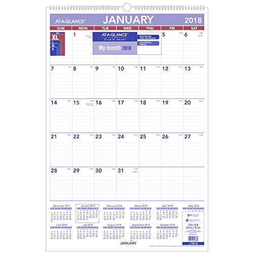 "AT-A-GLANCE Monthly Wall Calendar, January 2018 - December 2018, 20"" x 30"", Wirebound (PM428)"