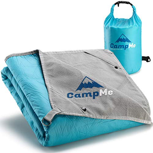 Premium Waterproof Picnic and Camping Blanket - Outdoor/Travel Cozy Fleece Blankets/Towel for Stadium - Strong Nylon, XL 87' X 58'(Optimal Size), 4 Metal Stakes, Clips to Attach Multiple Blankets