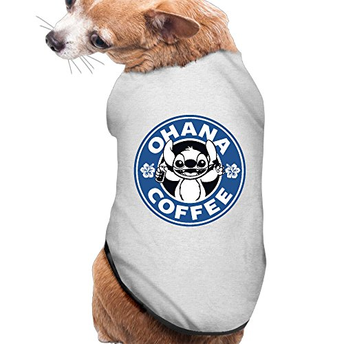 Ohana Stitch Coffee Summer Costumes, Clothing, Shirt, Vest, T-shirt, Puppy Pet Dog Cat Fashion 100% Polyester Fiber Tee Gift For Any Animal Fan Lovers Ash (Lilo And Stitch Costume For Dogs)