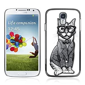 Designer Depo Hard Protection Case for Samsung Galaxy S4 / Sophisticated Hipster cat