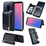 Zipper Wallet Case for Samsung Galaxy S9,Shinyzone Samsung Galaxy S9 Case with Money Pocket [One Magnetic Buckle] Premium Vintage Leather PU Flip Back Cover-Black