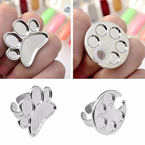 (AKOAK 2 Pcs/Lot Mini Manicure Palette Wearable Metal Nail Art Polish Holder Paint Palette Finger Rings Nail Art Tools)