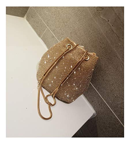 Concave Across Drill Bucket Makeup Super Chain Small Bucket Bag Shape Bag Package gold JUZHIJIA Inclined Flash XqWEpPwnq8