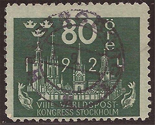 Sweden - 1924 80o Stockholm Skyline - - Scott - Sweden Usps