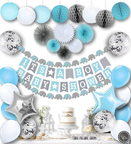 RainMeadow Premium Baby Shower Decorations for Boys Kit | It's A BOY | Garland Bunting Banner, Paper Lanterns, Honeycomb Balls | Tissue Paper Fans | Blue Grey White | Elephant Style -