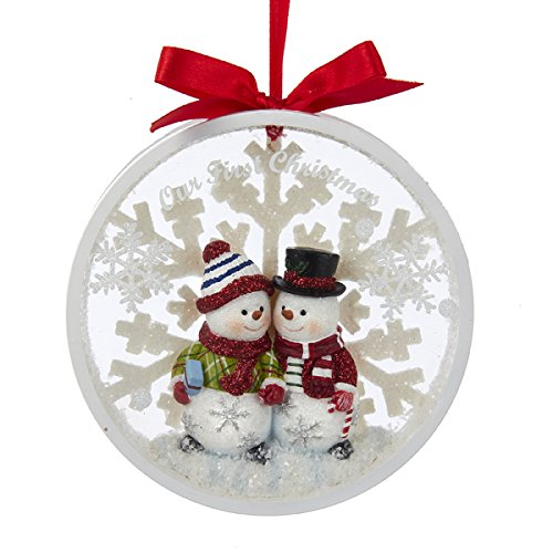 Kurt Adler Snowman Couple Our 1st Christmas Together Disc Ornament - - Christmas Ornament First 2017