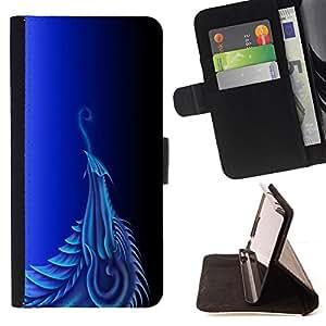 BullDog Case - FOR/Sony Xperia Z3 D6603 / - / Blue Dragon /- Monedero de cuero de la PU Llevar cubierta de la caja con el ID Credit Card Slots Flip funda de cuer