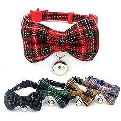 5PCS Pet Collar Adjustable Plaid Print Leather Belt Bell Pet Dog Collar Dog Collar Cat Collar for Puppy