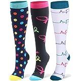 DRESHOW Calcetines de compresión para hombres y mujeres - 2/3 pares - Lo mejor para correr, médico, deportivo, viajes en avión, embarazo - 20-25 mmHg