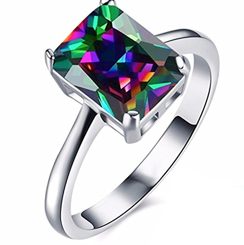 JD Jewls 18K Plated Sterling Silver Created Mystic Rainbow Topaz Halo Engagement Ring (18k Topaz Ring)