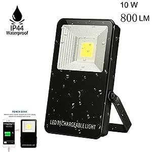LED Flood Light,SGODDE 10Watt LED Work Light Outdoor Spotlight, 800LM, Waterproof USB Power Bank with 6000mAh Rechargeable Battery, Black