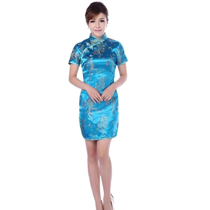 fef98da8f841 Hzjundasi Donne Tradizionale Cinese Drago Fenice Stampato Broccato Qipao  Vestito da Sera Maniche Corte Cheongsam  Amazon.it  Abbigliamento