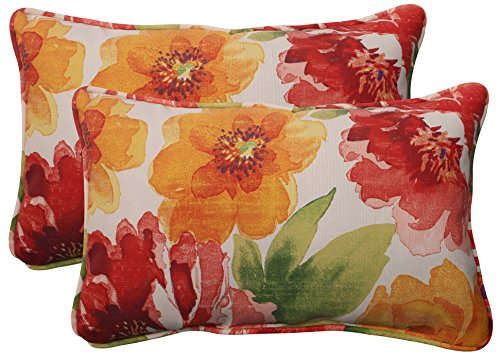 Pillow Perfect Indoor/Outdoor Cinnabar Corded Rectangular Throw Pillow, Set of 2