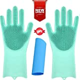OGGO Magic Silicone Gloves-Magic Silicone Dishwashing Gloves-Scrubby Washing Gloves-Silicone Gloves with Wash Scrubber-Dish Gloves with Scrubber-Silicone Scrubber Gloves-Silicone Magic Gloves-1PAIR