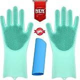 OGGO Magic Silicone Gloves-Magic Silicone Dishwashing Gloves-Scrubby Washing Gloves-Silicone Gloves with Wash Scrubber-Dish Gloves with Scrubber-Silicone Scrubber Gloves-Silicone Garlic Peeler-1PAIR