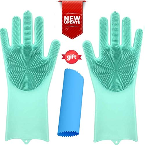 OGGO Magic Silicone Gloves-Magic Silicone Dishwashing Gloves-Scrubby Washing Gloves-Silicone Gloves with Wash Scrubber-Dish Gloves with Scrubber-Silicone Scrubber Gloves-Silicone Garlic Peeler-1PAIR