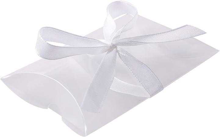 Bolsas de Regalo Almohada de Transparente Caja de Plástico con Cinta Lazo para Dulces Bombones chuches chicles palomitas Boda Cumpleaños Bautizo Baby Shower Graduación Navidad (25pcs): Amazon.es: Hogar