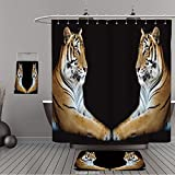 Uhoo Bathroom Suits & Shower Curtains Floor Mats And Bath Towels 286319789 Twin beautiful tiger face to face isolated on black background For Bathroom
