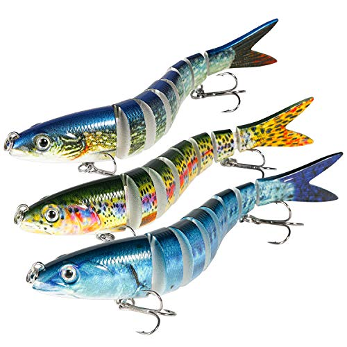 """Magreel Swimbaits Lures, 5.3"""" Multi Jointed Fishing Swimbaits Slow Sinking Hard Lure Fishing Kit for Bass, Trout, Pike, Perch (3 Pack)"""