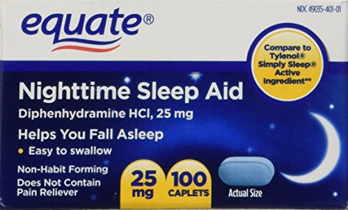 Equate - Nighttime Sleep Aid 25 mg, 100 Mini-Caplets (Compare to SimplySleep) (Best Otc For Sleep)