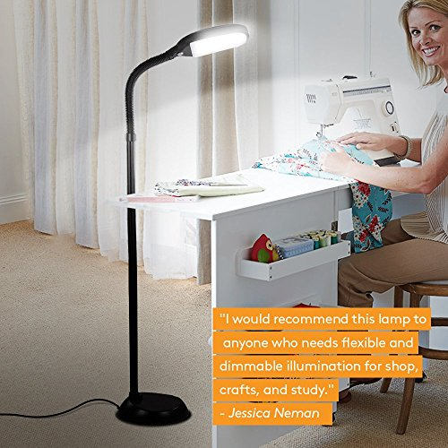 Brightech Litespan LED Reading and Craft Floor Lamp - Dimmable Full Spectrum Natural Daylight Sunlight LED Standing Light with Gooseneck for Living Room Sewing Bedroom Office Task - Black (Certified R by Brightech (Image #6)