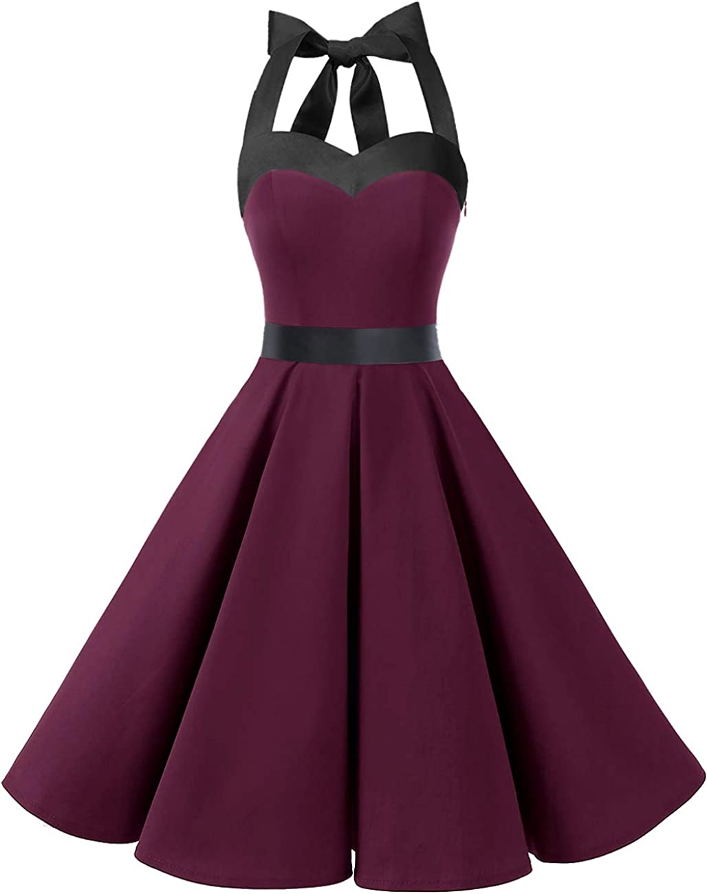 TALLA M. Dresstells® Halter 50s Rockabilly Polka Dots Audrey Dress Retro Cocktail Dress Burgundy Black M