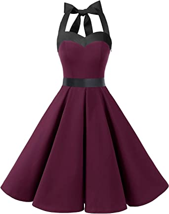 TALLA L. DRESSTELLS® Halter 50s Rockabilly Polka Dots Audrey Dress Retro Cocktail Dress Burgundy Black