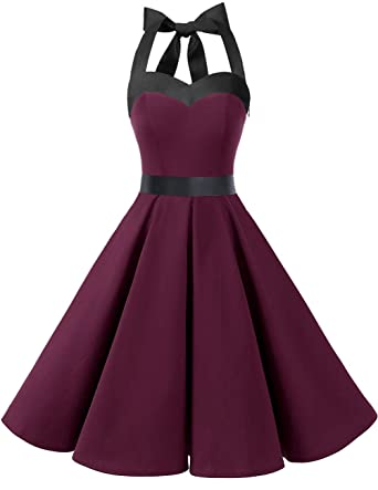 2487123746230 DRESSTELLS 50s Retro Halter Rockabilly Polka Dots Audrey Dress Cocktail  Dress Burgundy Black XS