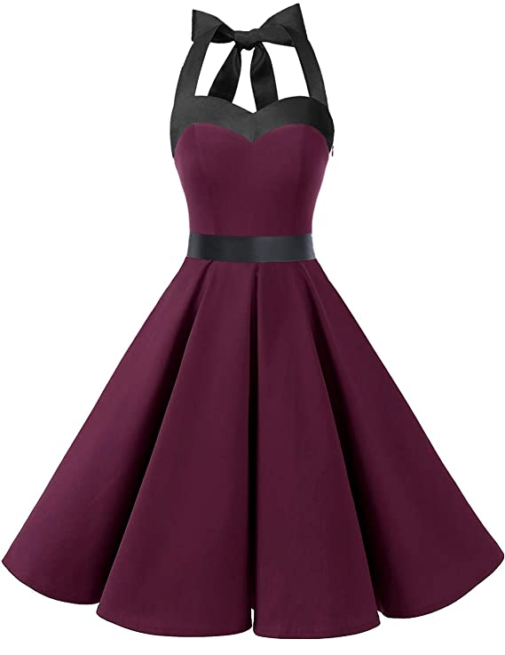 1950s Dresses, 50s Dresses | 1950s Style Dresses DRESSTELLS 50s Retro Halter Rockabilly Bridesmaid Audrey Dress Cocktail Dress $26.99 AT vintagedancer.com
