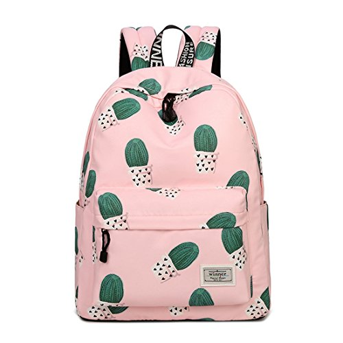 Joymoze Waterproof Leisure Student Backpack Cute Pattern School Book Bag for Girls Pink 841