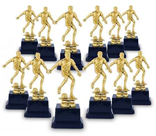Soccer Trophy - 12-Pack Soccer Gold Trophies - Awards Recognition for Soccer Players, Coaches for Kids Tournaments, Competitions and Sport Party Decorations - Dribble Pose, 2.6 x 2.6 x 6.3 - Football Trophy Player