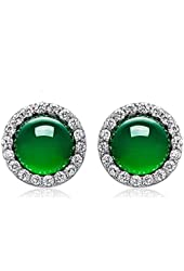 Silver Masters 925 Sterling Silver Stud Earrings With Green Natural Jade Stone