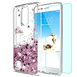 LeYi LG K8 2017 Case with HD Screen Protector, Girl Women 3D Glitter Liquid Moving Cute Personalised Clear Transparent Silicone Gel TPU Shockproof Phone Cover for LG K8 2017 Rose Gold (EU Version)