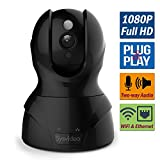 WiFi Wireless IP Security Camera for Home/Shop, 1080P HD Infrared Night Vision Pan Tilt, iPhone/iPad/Andriod APP & Browsers Monitor, SD Card Recording, Motion Alert, Microphone 2 Way Audio