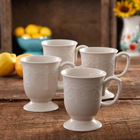 (The Pioneer Woman Cowgirl Lace Mug Set, Set of 4 (Linen/Beige))