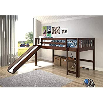 Amazon Com Oates Lofted Bed With Slide And Tent Multi