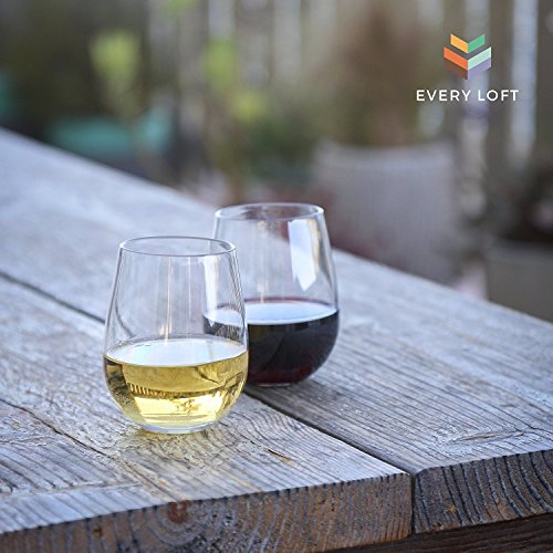 Every Loft Stemless Unbreakable Wine Glass, Tritan Plastic, BPA-Free, Dishwasher-Safe, 16-Ounce, Set of 4