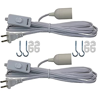 Lightingsky 15 Feet Hanging Light Cord E26 / E27 Light Bulb Socket to 2-Prong US AC Power Cord with On/Off Switch