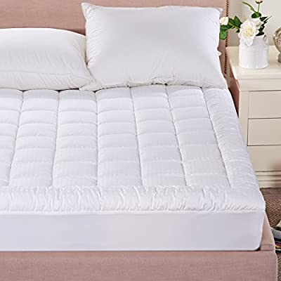 Merous Hypoallergenic Fitted Quilted Mattress Pad Topper with 18 Inch Deep Pocket